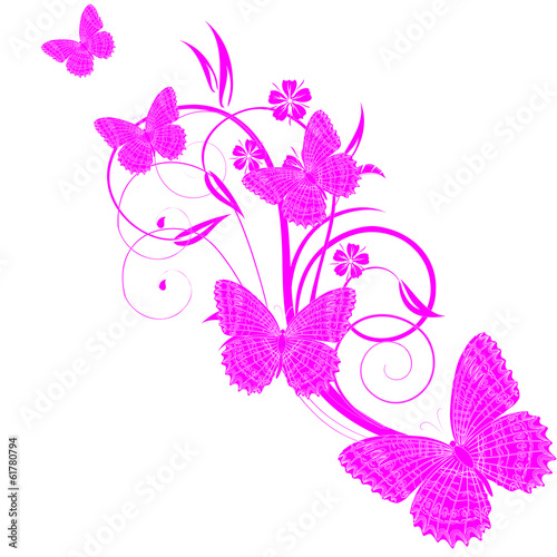Vector card with a branch and butterflies