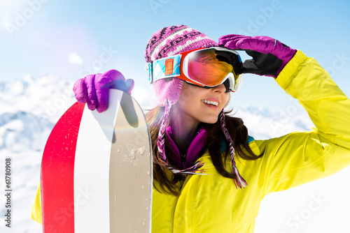 canvas print picture Snowboarderin