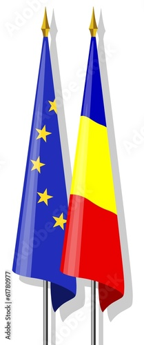 Flags: Europe and Romania together