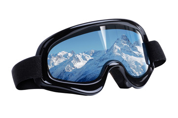 Ski mask with mountains reflection