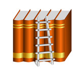 Ladder with a Row of Hard Bound Brown Books