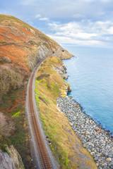 Railway next to the coast