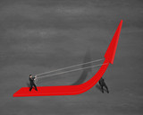 Businessmen pulling up growing red arrow