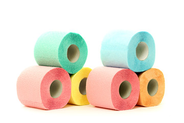 Colorful toilet paper rolls