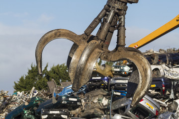 Close up of a Crane grab in a Scrapyard
