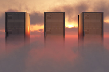 Cloud Servers Creative Concept