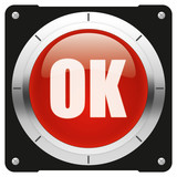 OK - modern glossy red icon or button