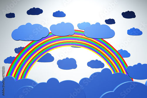 Rainbow and Clouds Cartoony 3D artwork