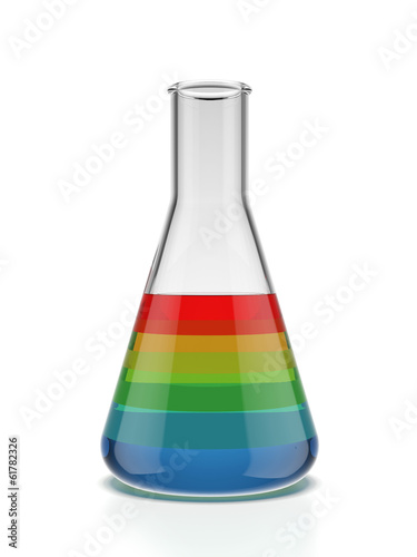 Color samples into a flask