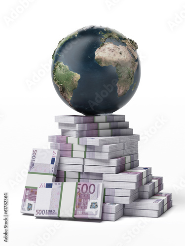 Earth on a pile of euros
