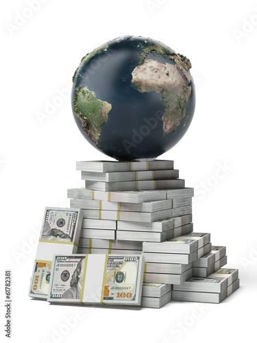 Earth on a pile of dollars