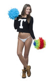 Happy young cheerleader with pom-poms isolated on white backgrou