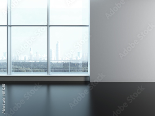 Office window. Blank wall