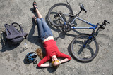 woman  cyclist rest near bike