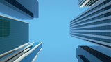 Seamlessly looping animation of modern glass office buildings