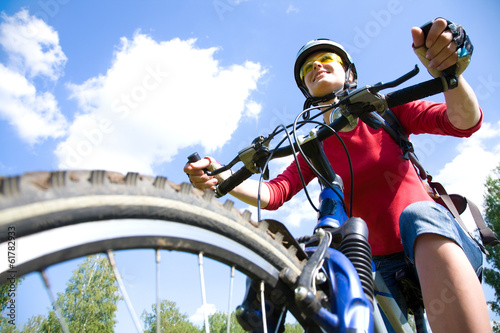 young cyclist in the park