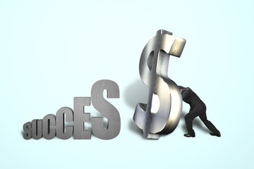 businessman standing large money symbol to success