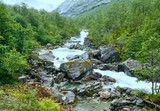 Summer river on mountain slope (Norway).