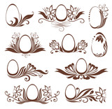 Set of easter floral frames