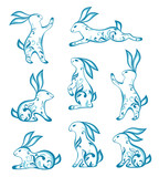 Set of ornamental easter rabbits