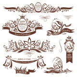 Set of easter decorative emblems with chickens