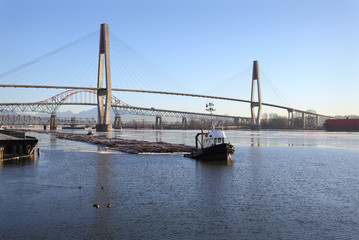 Fraser River Winter Log Boom