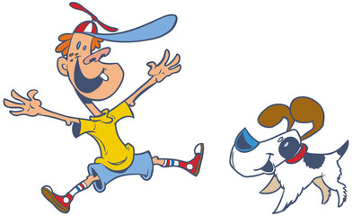 vector cartoon of a jumping boy and his dog