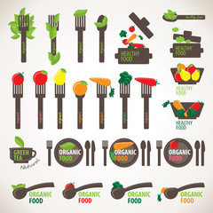Organic, Healthy And Vegetarian Food Icons