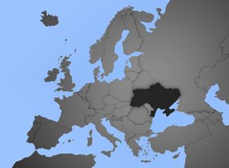 3D Europakarte blau / weiß mit Ukraine