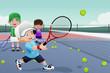 Kids in tennis practice