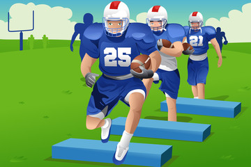 Kids in American football practice