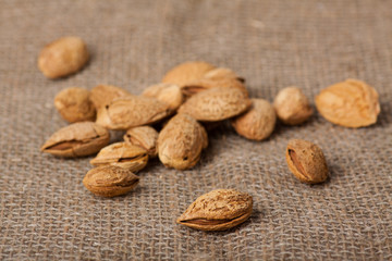 Almonds nuts on sackcloth