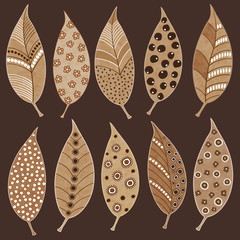 Illustration of painted autumn leaves