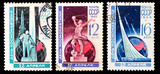 USSR stamps, cosmonautics day in 1965