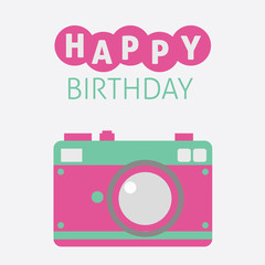 Cute Camera Card Happy Birthday Icon Flat