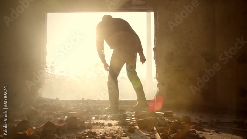Young Man Silhouette Walking Abandoned Building Depression