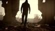 Man Walking Toward Sunlight Abandoned Building Salvation