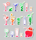 Cocktails and glasses with alcohol on stickers
