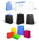 Set of empty shopping bags isolated on white background, vector