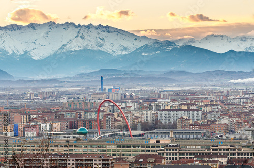 Turin (Torino), panorama with Olympic Arch, Lingotto and Alps