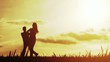 Love Couple Sunset Silhouettes Vacation Happiness Concept