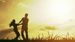 Young Family Couple Silhouette Summer Sunset Nature