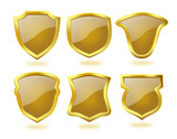 Shiny Golden Shields with Brown Check Pattern