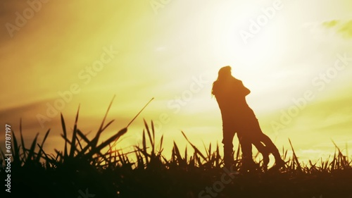Happy Couple Holiday Sunset Nature Silhouette