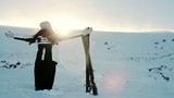 Woman Worship Pose Mountains Sun Flare Ski