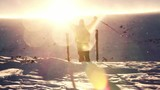 Beautiful Sun Flare High Mountain Climber Worship Pose