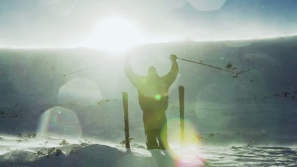 Success Pose Mountain Top Sin Flare Snow Drifting Ski