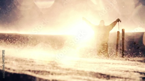 Beautiful Mountain Snow Sun Flare Man Worship Pose