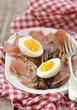 red endive eggs and hamon warm salad