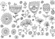 Obrazy na płótnie, fototapety, zdjęcia, fotoobrazy drukowane : Fairytale Flower Spring Doodles Vector Illustration set